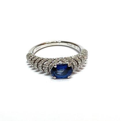 Unique design Sapphire ring with diamonds