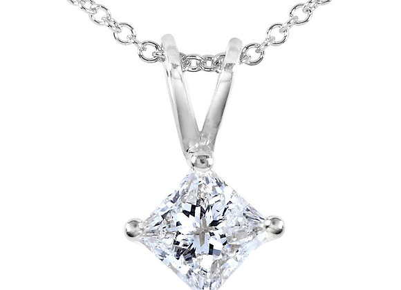 Princess cut diamond 4-claw pendant