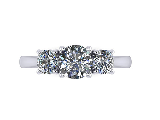 """""""Reese"""" The Classic Round Brilliant 3-stone Engagement ring"""