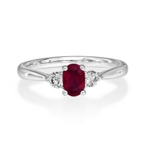 Oval Ruby Three Stone Tapered