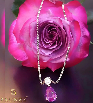 Pink Sapphire and Diamond Rose gold necklace