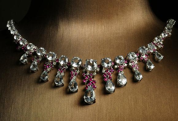 Aquamarine, Diamond and Ruby Necklace