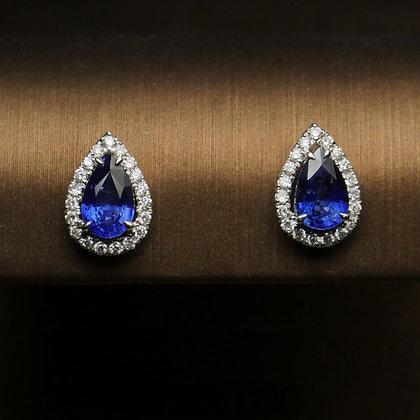 Pear Sapphire Halo Earrings