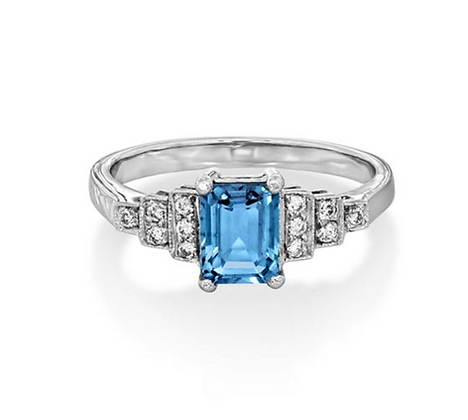 Aquamarine and Diamond Step side ring
