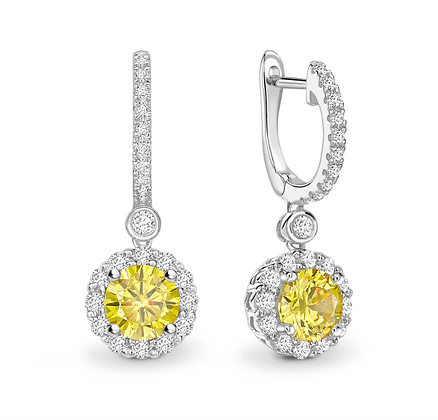 "Yellow Sapphire  and diamond ""hoopalo"" drop earrings"