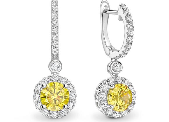 "Yellow Sapphire  and diamond ""hoopalo"" drop earrings"