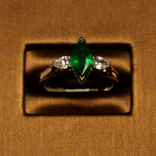 Marquise Emerald with Side Diamonds