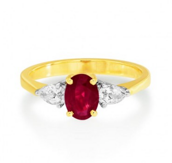 Oval Ruby with Pear Shape