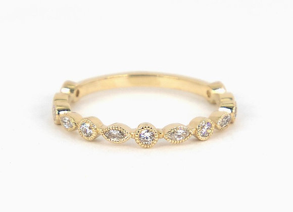 Marquise and Round millgrain eternity band