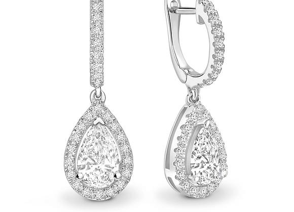 Pear shape halo Diamond Hoop Drop Earrings 1carat