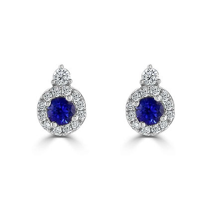 "Sapphire ""Dew"" stud earring with Diamonds"