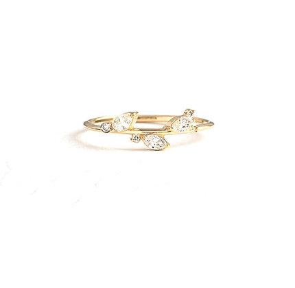 Marquise diamond flower stem ring
