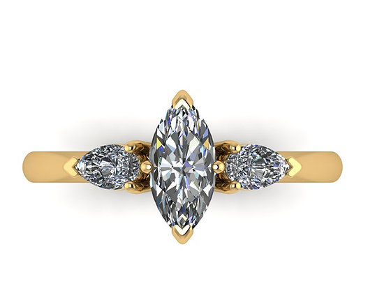 Marquise and Pear Shape diamond low set ring