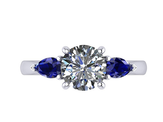 1.20 ct diamond with sapphire side