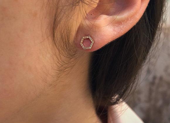 18k rose gold Diamond hexagonal earring