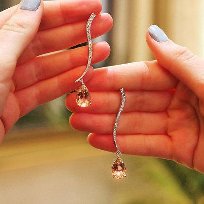 Pink morganite and diamond drop earring