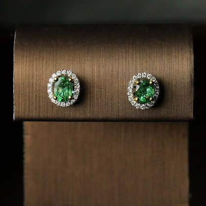 Emerald Halo Earring Studs