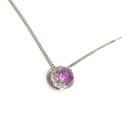Pink Sapphire halo diamond pendant