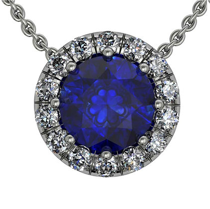 Round Halo Diamond Pendant 5mm centre with chain