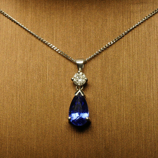 Pear Sapphire with Solitaire