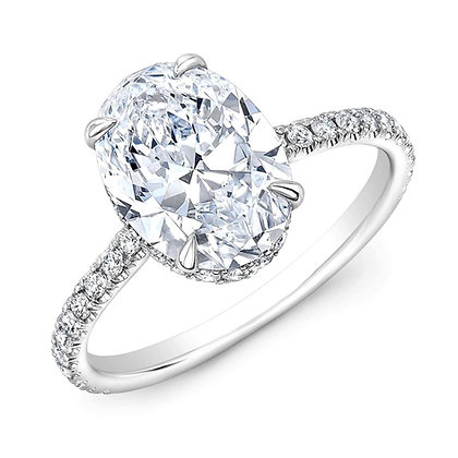 2carat Oval Diamond under halo ring, D colour Gia