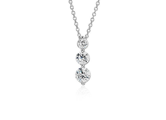Round Diamond single claw drop 3-stone pendant