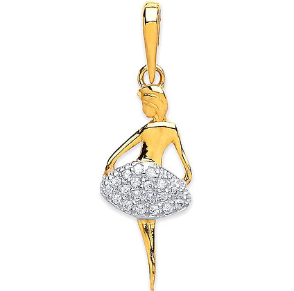 9k Gold and CZ standing Ballerina pendant