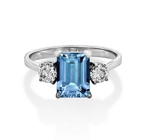 Emerald Aquamarine Three Stone