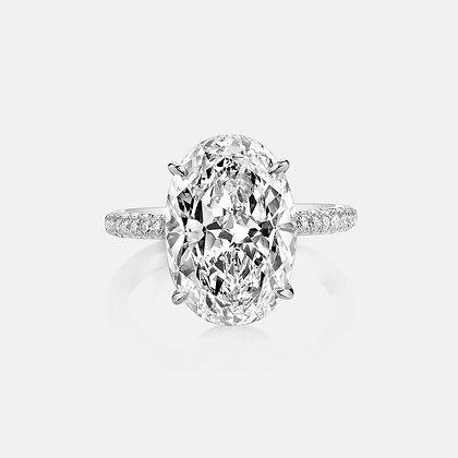 Unique Oval diamond hidden halo ring 1ct/1.5/2.00ct