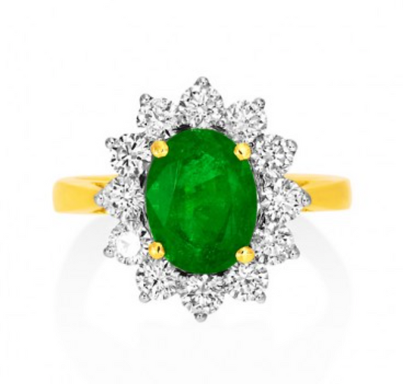 18k Yellow Gold Emerald Cluster Halo