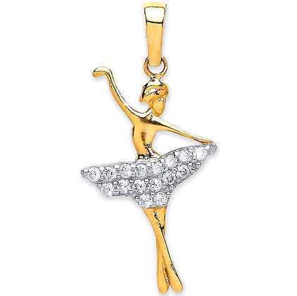9k Gold and CZ Ballerina Pendant