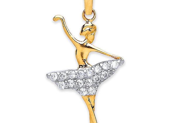 9k Gold and CZ Ballerina Pendant