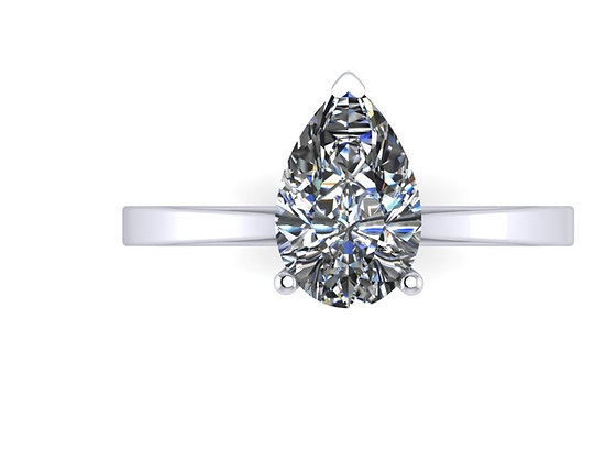 Pear shape diamond 1ct DSI with slim band