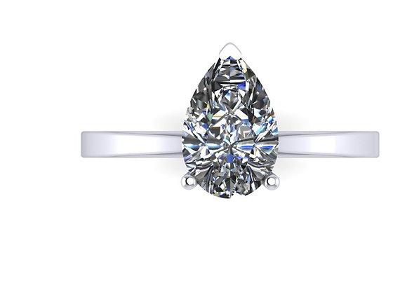 Pear shape diamond 1ct DSI with slim band