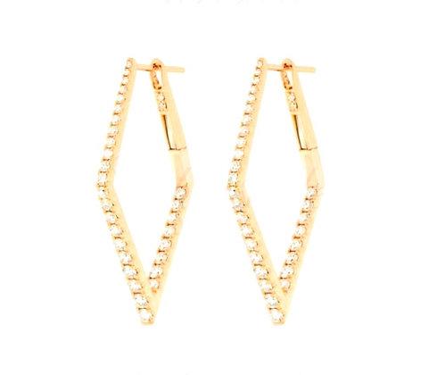 Diamond shape 30mm hoop earring with graduated diamonds