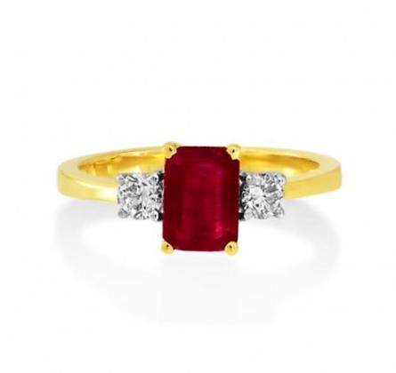 Emerald Cut Ruby Threestone