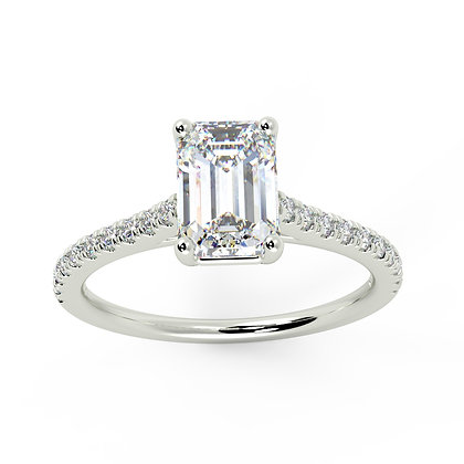 Emerald cut diamond with petite micro set band