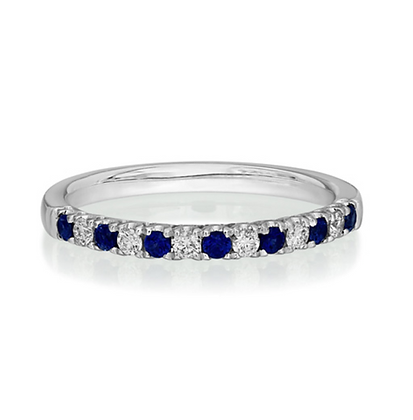 Sapphire and Diamond Half Eternity 2mm