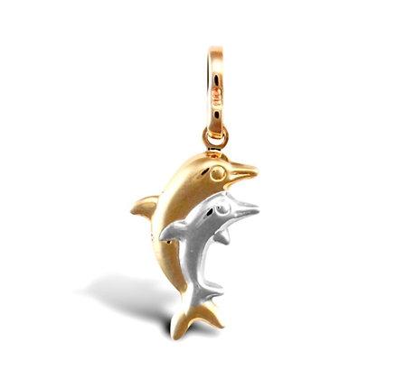 9k Gold double Dolphin charm pendant