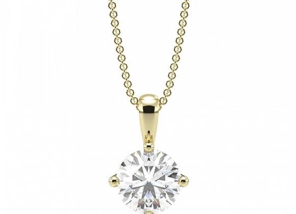 Round diamond 4-dia-claw pendant