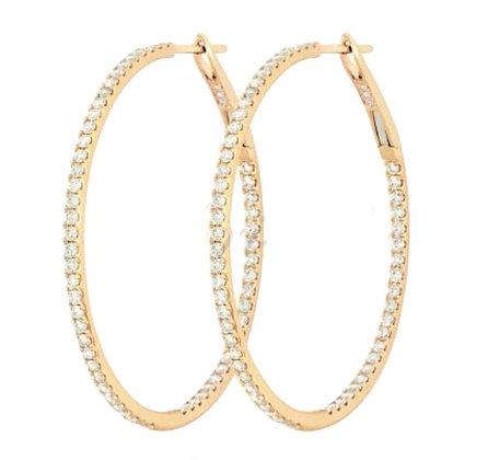 "Diamond Circle 1.5"" Hoop earring with 1.35mm Diamonds"