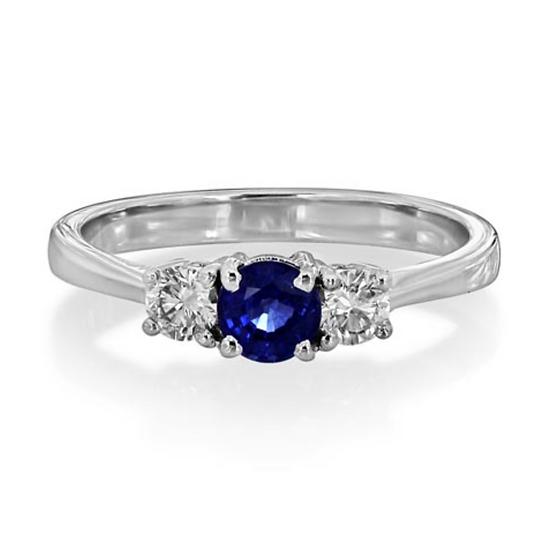 Round Sapphire Three Stone
