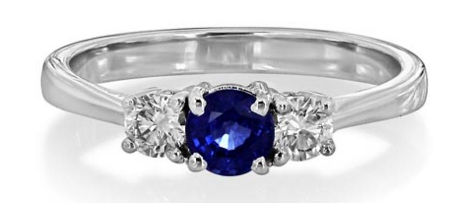 Round 0.50ct Sapphire Three Stone Ring