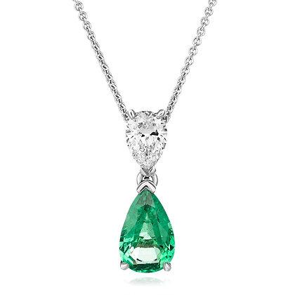 Fine emerald and pear cut diamond pendant