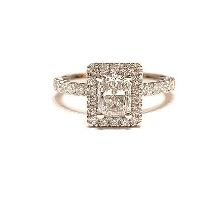 Radiant cut floating Halo engagement ring