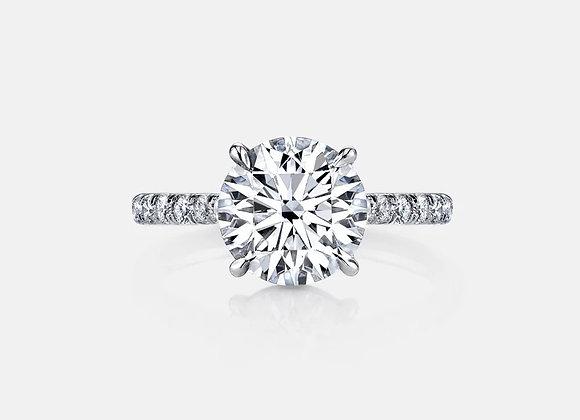 """Tornado"" Round Brilliant engagement ring with Petite thin diamond band"