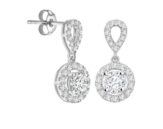 Round Diamond drop earrings 0.85ct