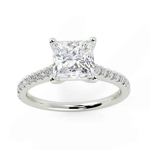 Princess cut centre Engagement ring with petite micro set band