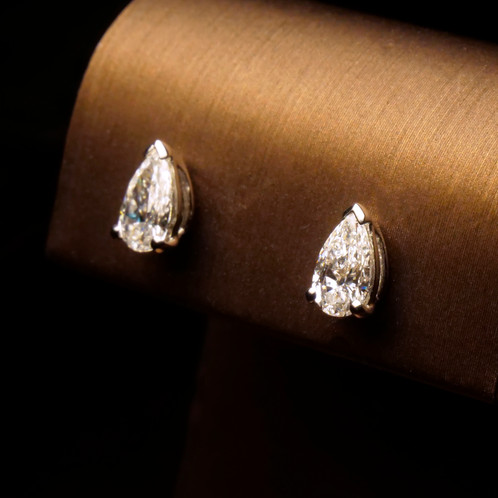 penny products earrings grande preville diamond stud pear shaped shape