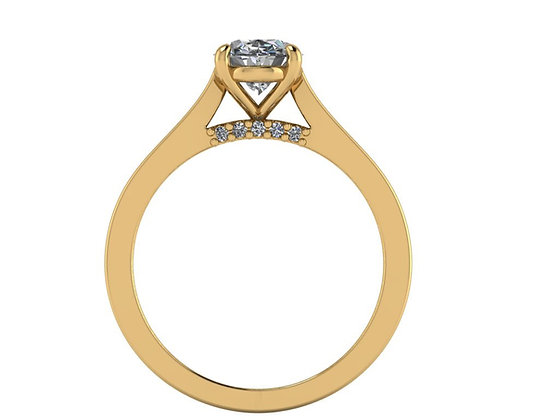 Oval Diamond engagement ring with Bridge diamonds
